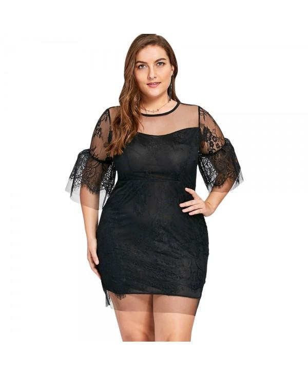 Plus Size Sheer Lace Insert Mini Bodycon Dress