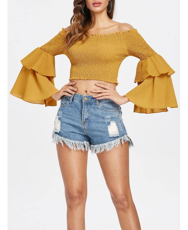 Bell Sleeve Shirred Crop Top