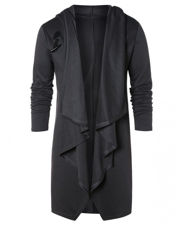 Solid Open Front Hooded Coat