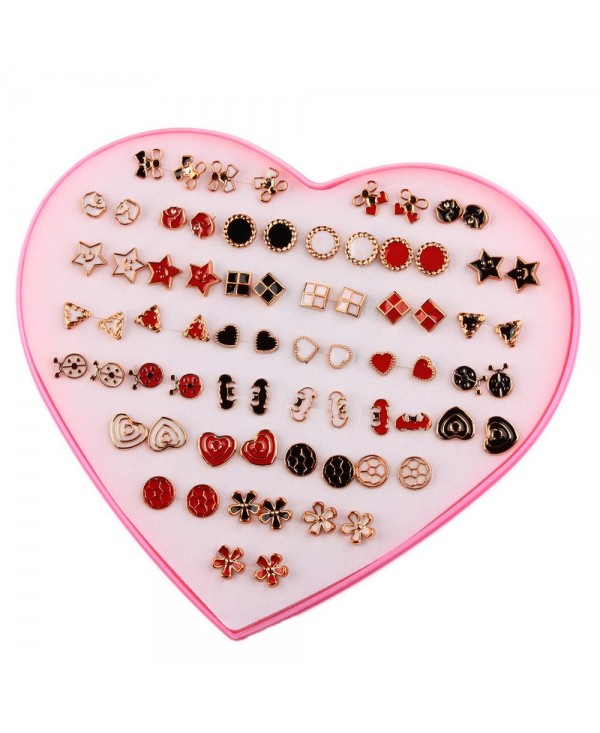 Fashion Heart Box 36 Pairs of Color Drop Glaze Earrings