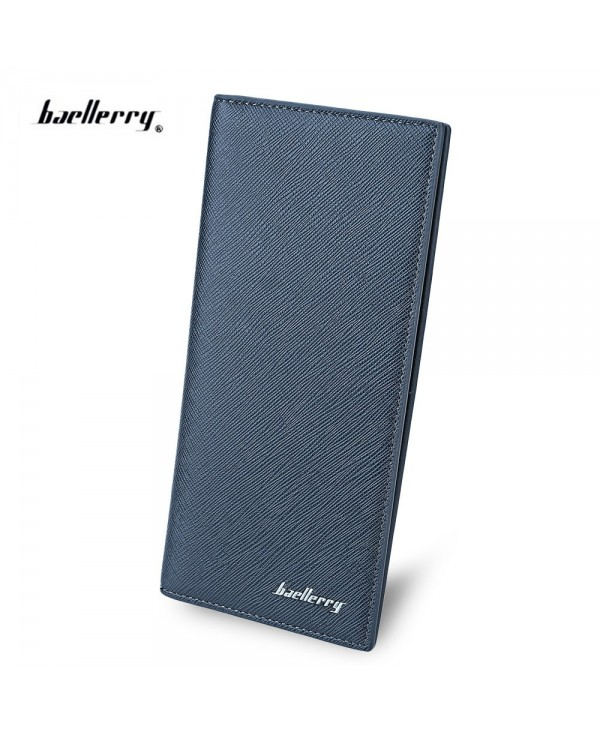 Baellerry Thin Soft Solid Color Long Vertical Photo Cash Card Wallet for Men