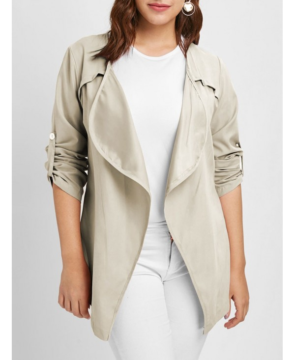 Open Front Plus Size Long Sleeves Jacket