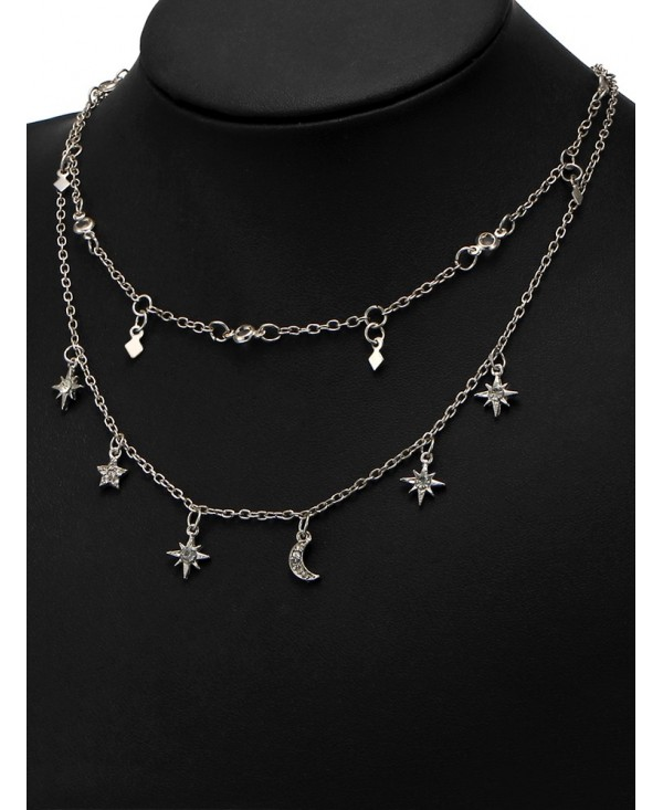 Moon Star Charm Chain Necklace Set