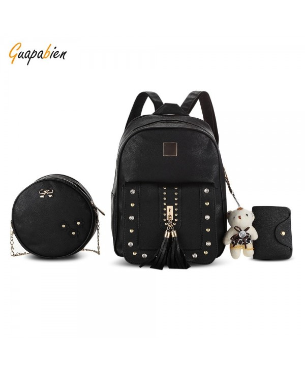 Guapabien Women Rivet Tassel Rhinestone Small Backpack