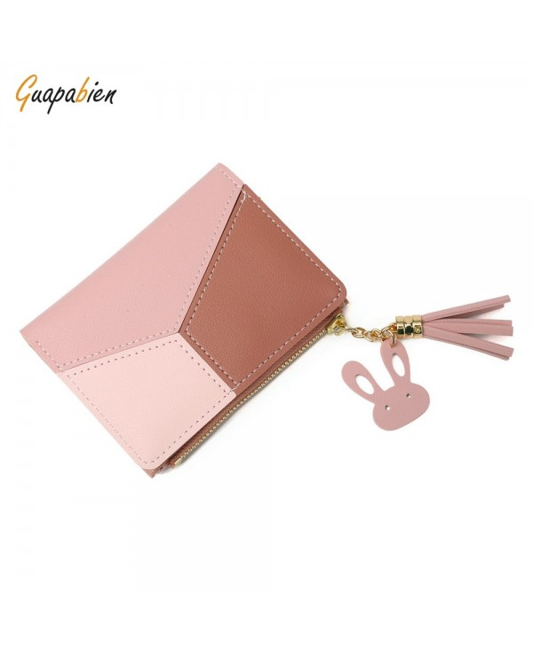 Guapabien Women PU Leather Color Blocking Short Wallet Lady Card Holder Female Coin Purse