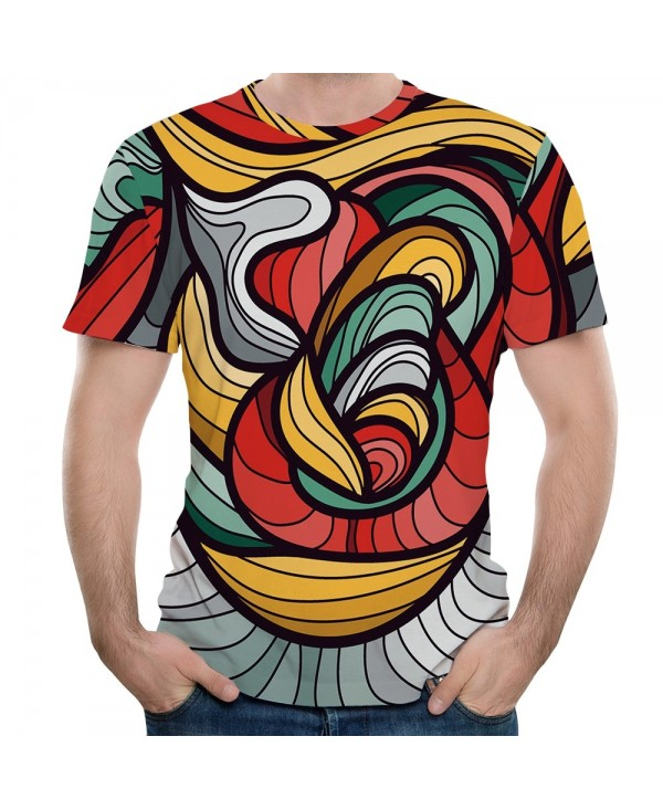 New Fashion Color Ribbon 3D Printed Men's Short Sleeve T-shirt