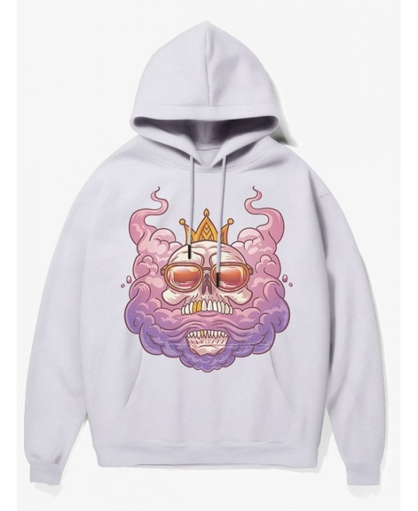 Cartoon Skull King Print Pullover Fleece Hoodie