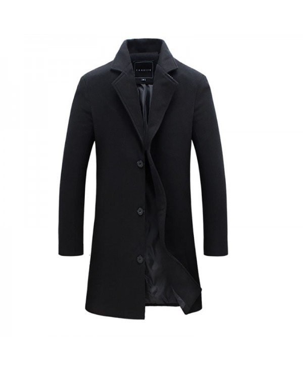 Men's Fashion Casual Solid Color Long Wool Blend Coat