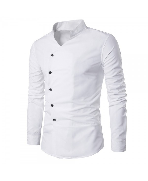 Stand Collar Oblique Placket Long Sleeve Shirt