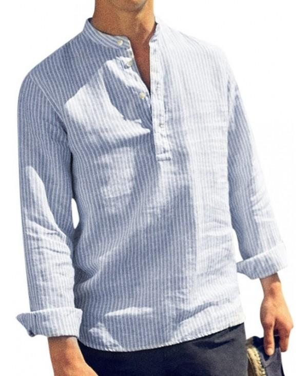 Stand Collar Half Button Striped Shirt