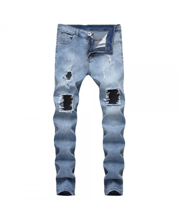 Ripped Side Zip Design Jeans