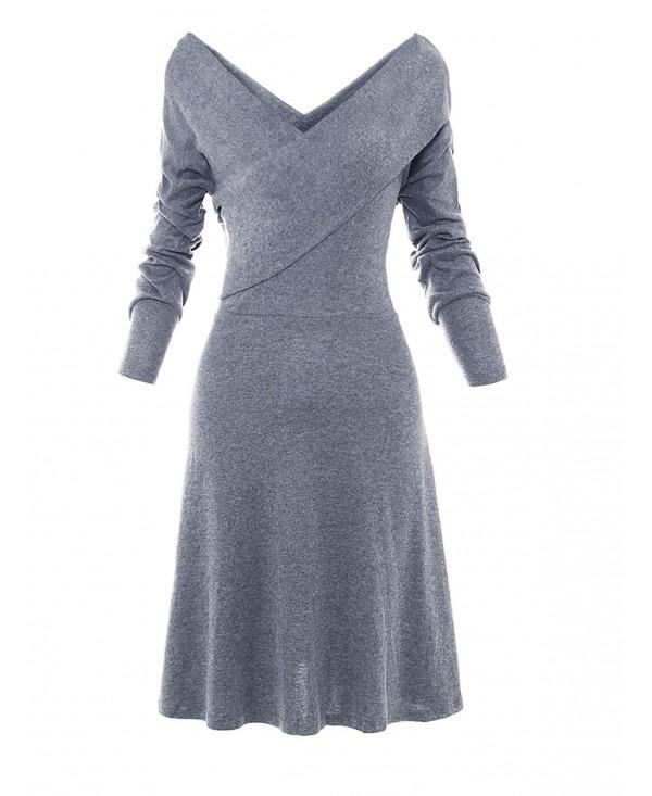 Women V Neck Long Sleeve A-line Dress