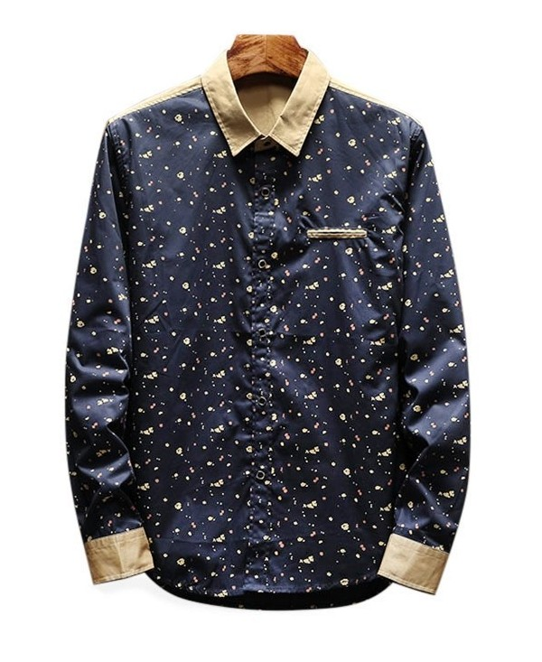 Long Sleeve Small Irregular Figures Print Shirt