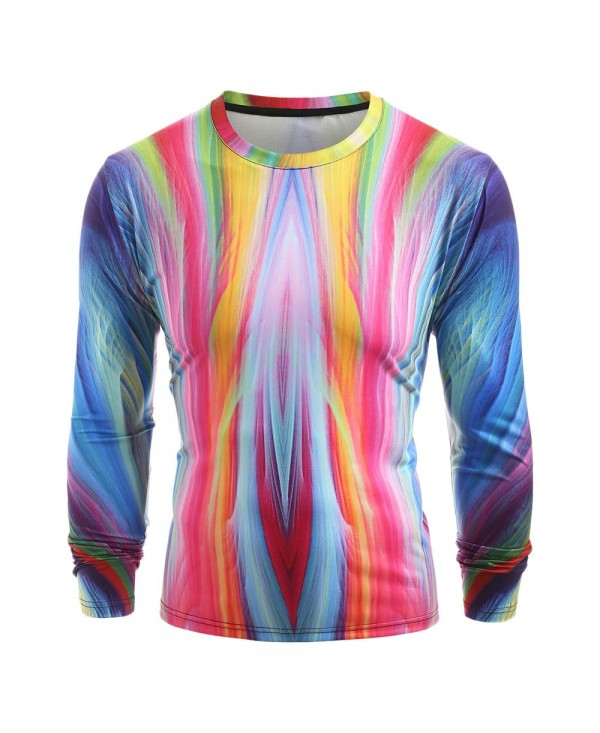 Colorful Ray Print Long Sleeve T-shirt