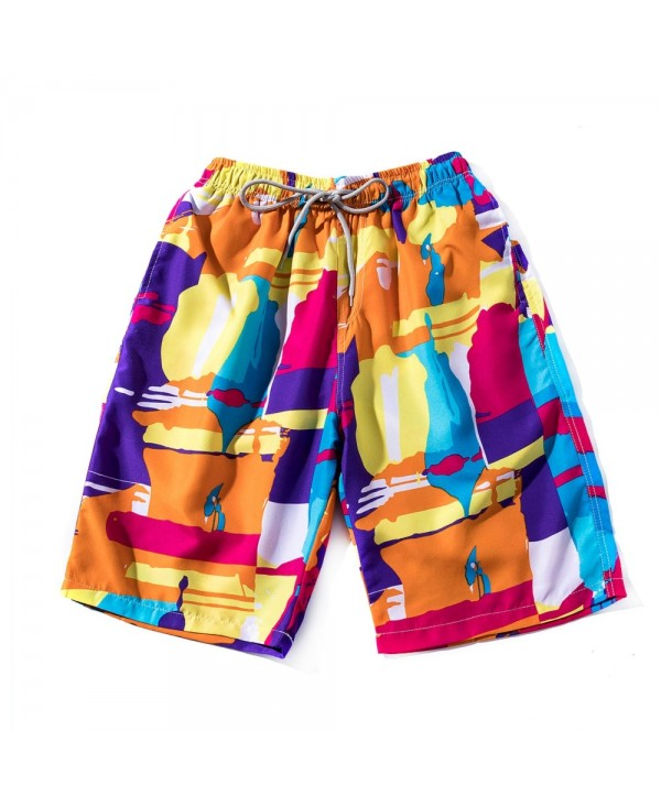 Summer Men's Fast Dry Pants Seaside Holiday Shorts Printed Swimming Beach Pants