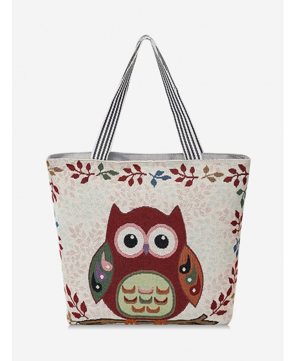 Owl Pattern Canvas Tote Bag