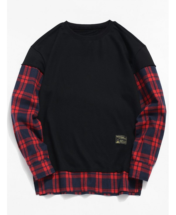 Plaid Patchwork Fake Two Piece Sweatshirt