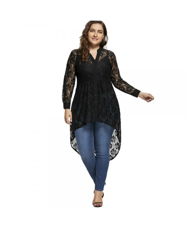 Long Sleeve High Low Lace Plus Size Top