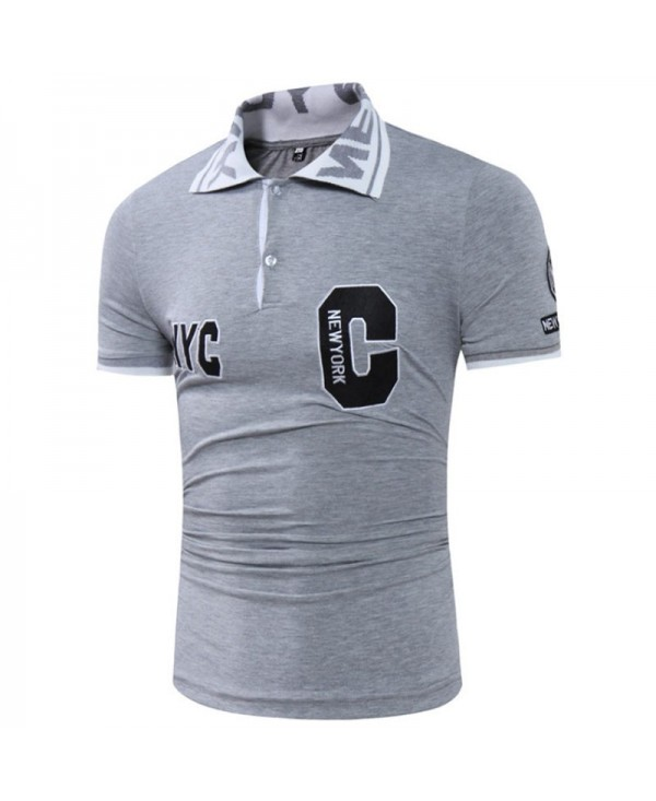 Men's Short Sleeves Letter Embroidery Design Casual Shirt