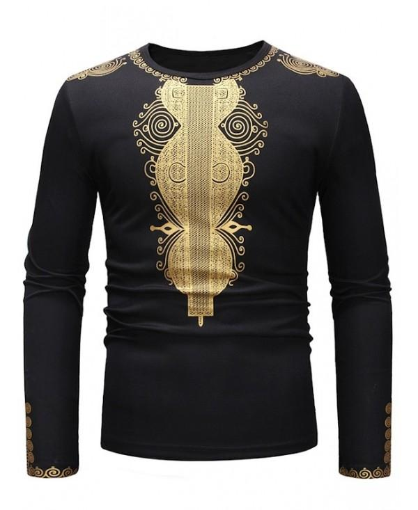 African Style Printed Crew Neck Long Sleeve T-shirt