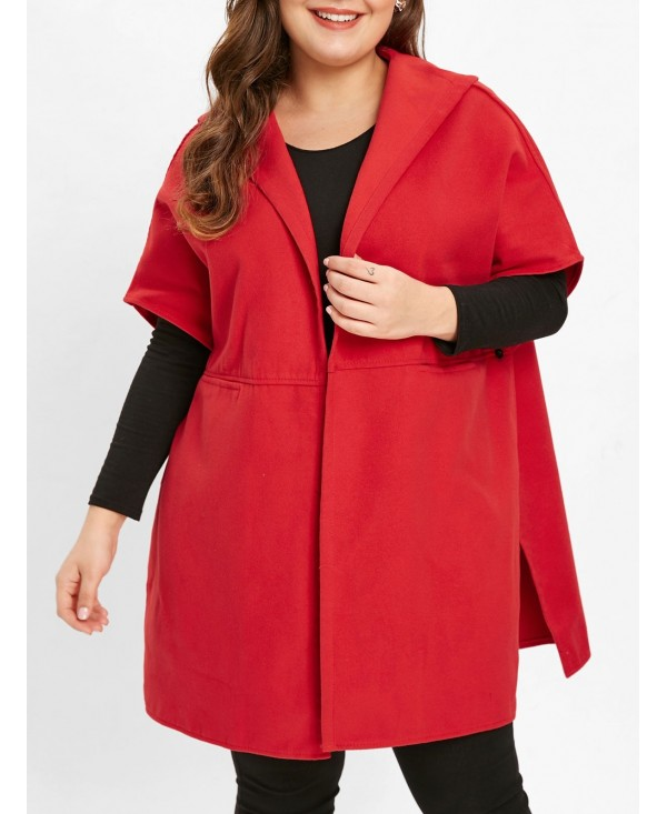 Plus Size Open Front Hooded Coat