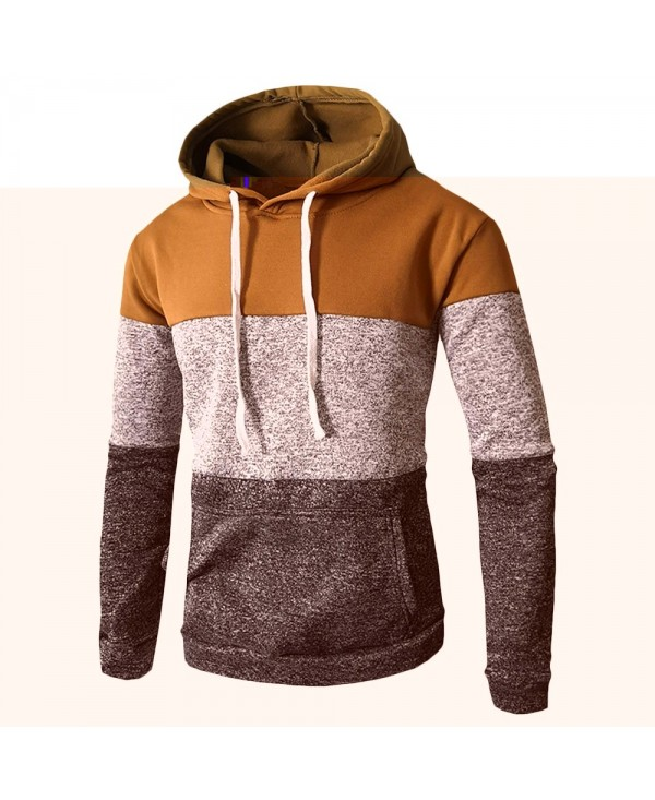 Male Hoodie Three-color Stitching Long Sleeve Men Sweatshirt