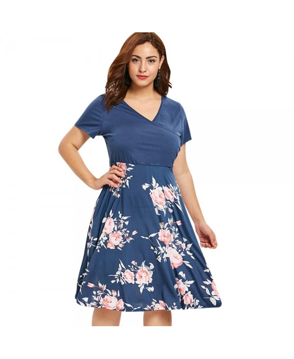 Plus Size Floral Print Short Sleeve Fit and Flare Dress