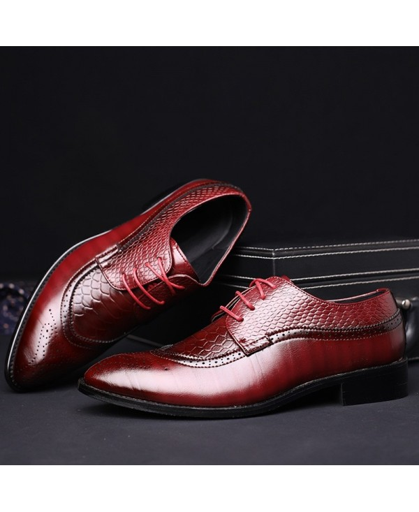 Fashion Leather Shoes Men Dress Shoe Pointed Oxfords