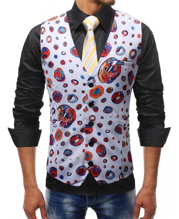 Casual Colorful Circle Print Vest