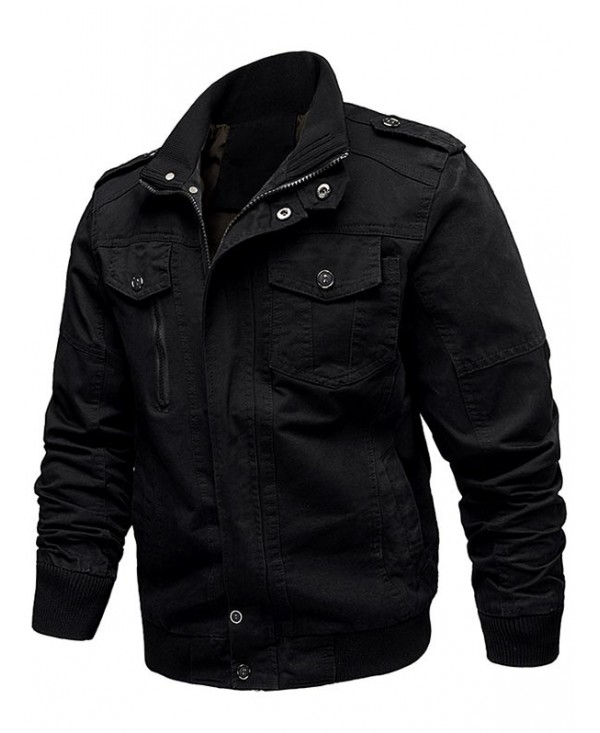 Zip Up Stand Collar Cargo Jacket