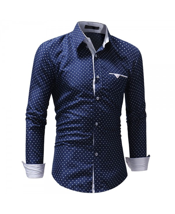 Men's Casual Slim Five-Star Print Long Sleeve Shirt