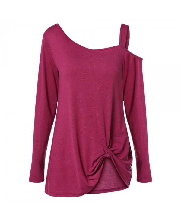 Skew Neck Cold Shoulder Long Sleeve Ruched Asymmetric Solid Color Women T-shirt