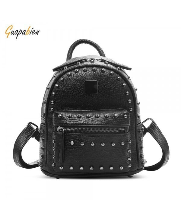 Guapabien Rivet Mini Backpack PU Leather Water Resistant Women Bag