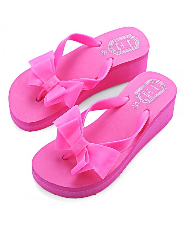 Summer Pure Color Ladies Flat Wedge Bowknot Beach Slippers