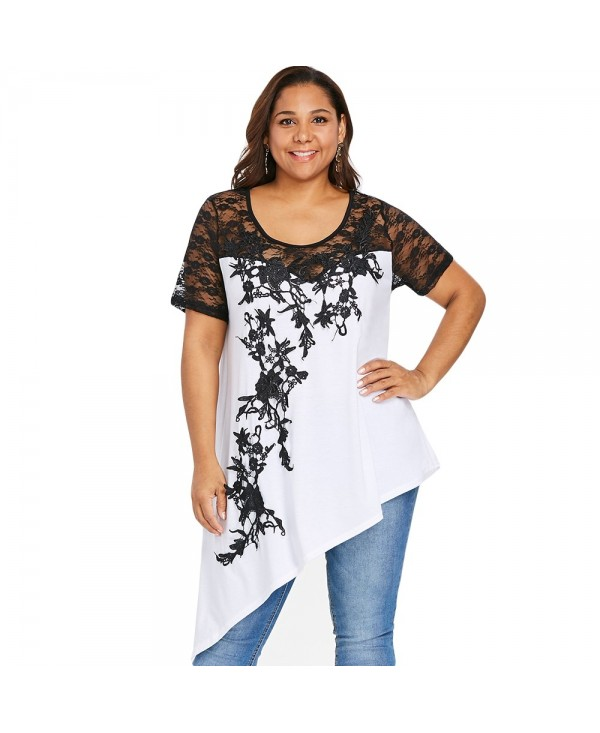 Lace Insert Plus Size Slant Asymmetric T-shirt