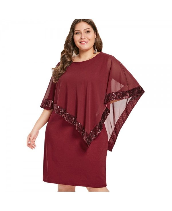 Plus Size Sequin Embellished Overlay Dress