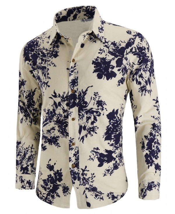 Line Long-sleeved Floral Shirt