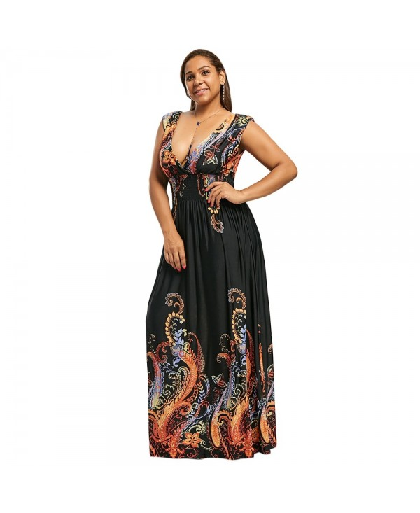 Plus Size Plunge V Neck Paisley Maxi Bohemian Dress