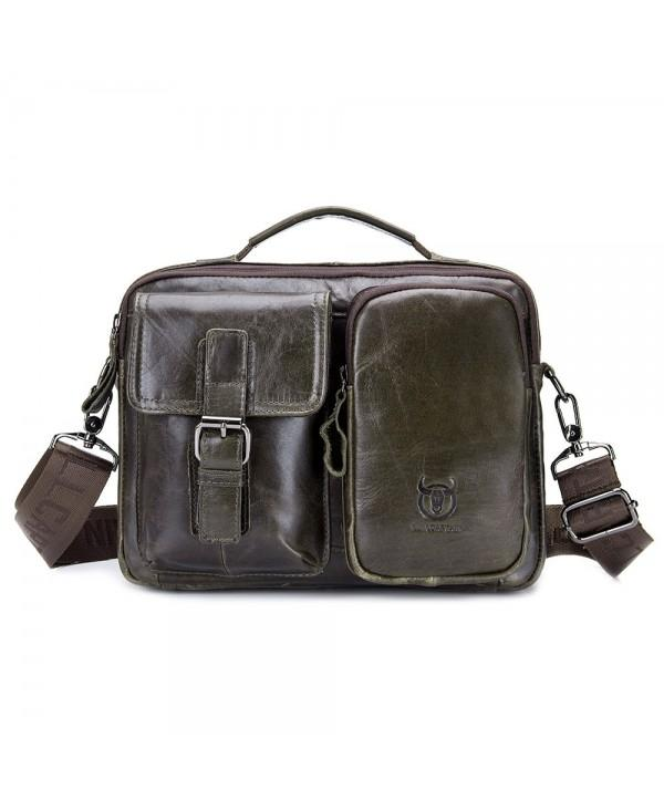 BULLCAPTAIN Men Vintage Genuine Leather Shoulder Bag