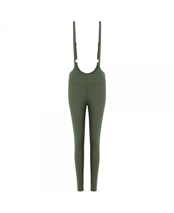 Shoulder Strap High Waist Skinny Solid Color Suspender Trousers Women Pants
