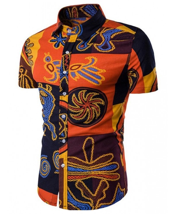 Ethnic Style Tribal Print Short Sleeve Shirt