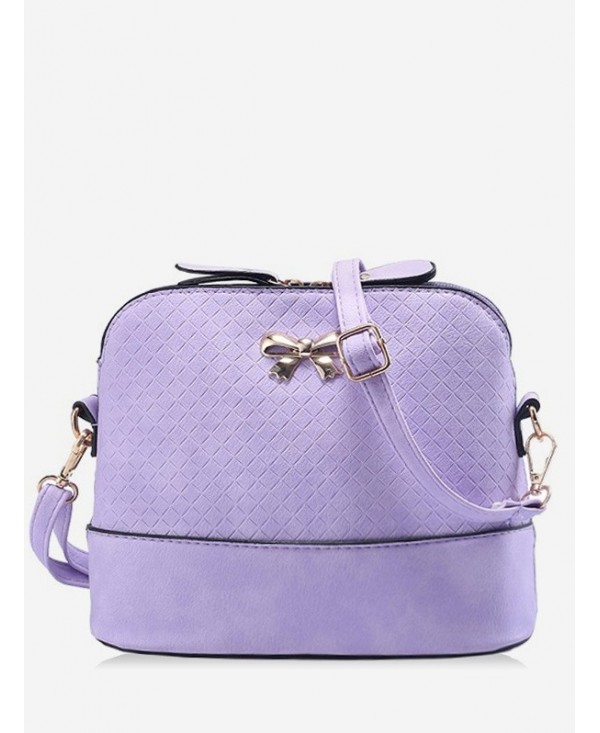 Shell Shape Bowknot Check Crossbody Bag