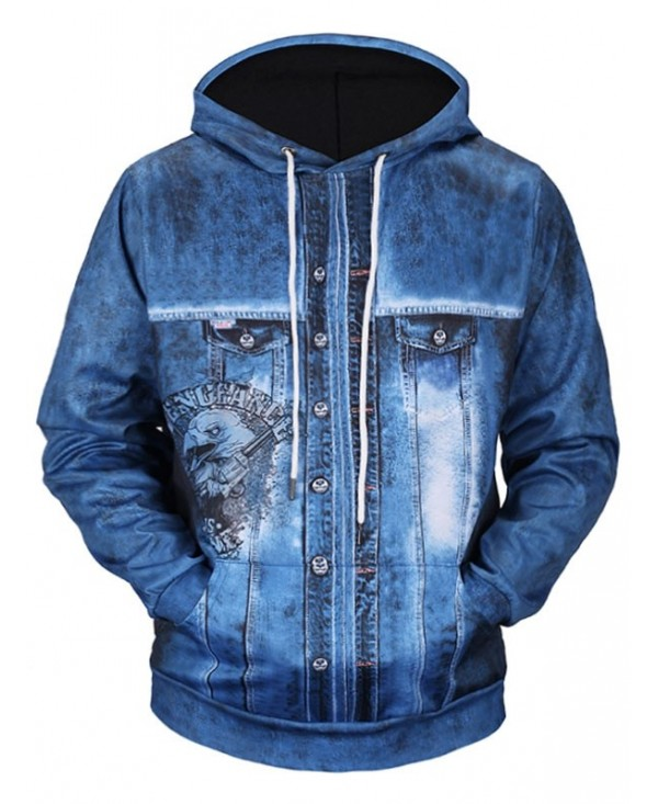 Eagle Gun Logo Denim Jacket Print Pocket Hoodie