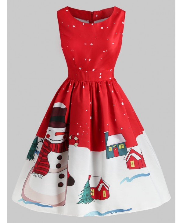 Christmas Snowman Print Sleeveless Dress