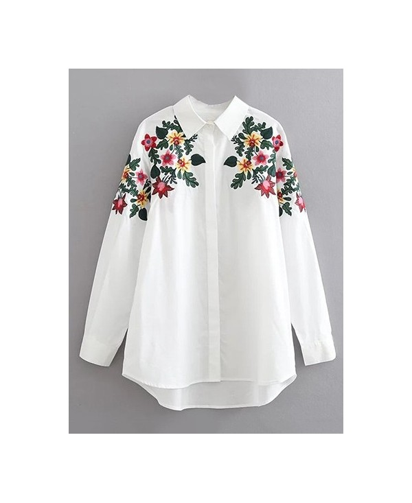 Long Sleeves Floral Embroidered Cotton Shirt