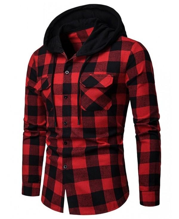Flap Pocket Hood Patchwork Contrast Plaid Shirt