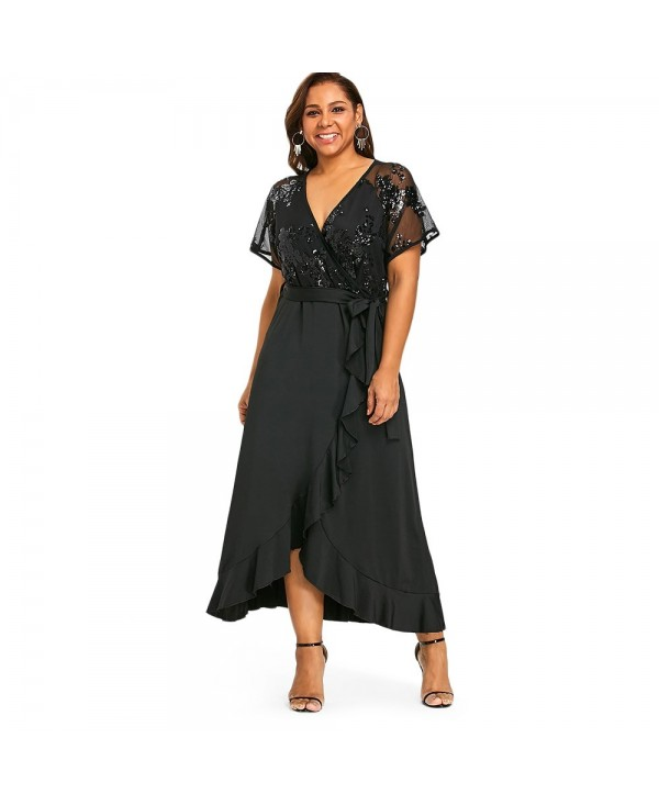 Sequins Belted Plus Size Cocktail Maxi Dress