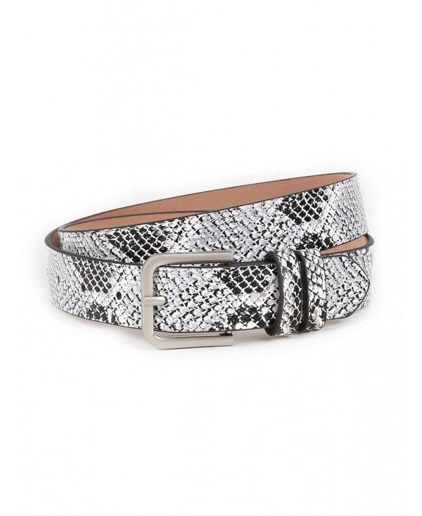 Retro Snake Pattern Embellished Skinny Belt