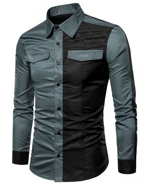 Casual Long Sleeve Contrast Color Shirt