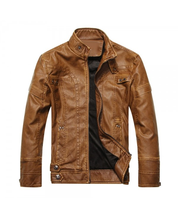 Stand Collar Long Sleeve Leather Men Jacket